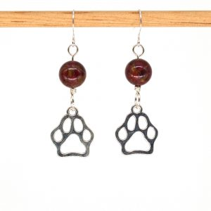 E1028 - Cranberry Doggo Paws Earrings