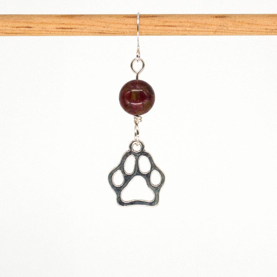 E1028D - Cranberry Doggo Paws Earrings