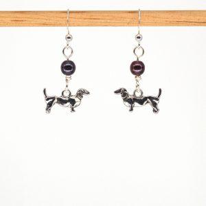 E1045 - Purple Weiner Doggo Earrings