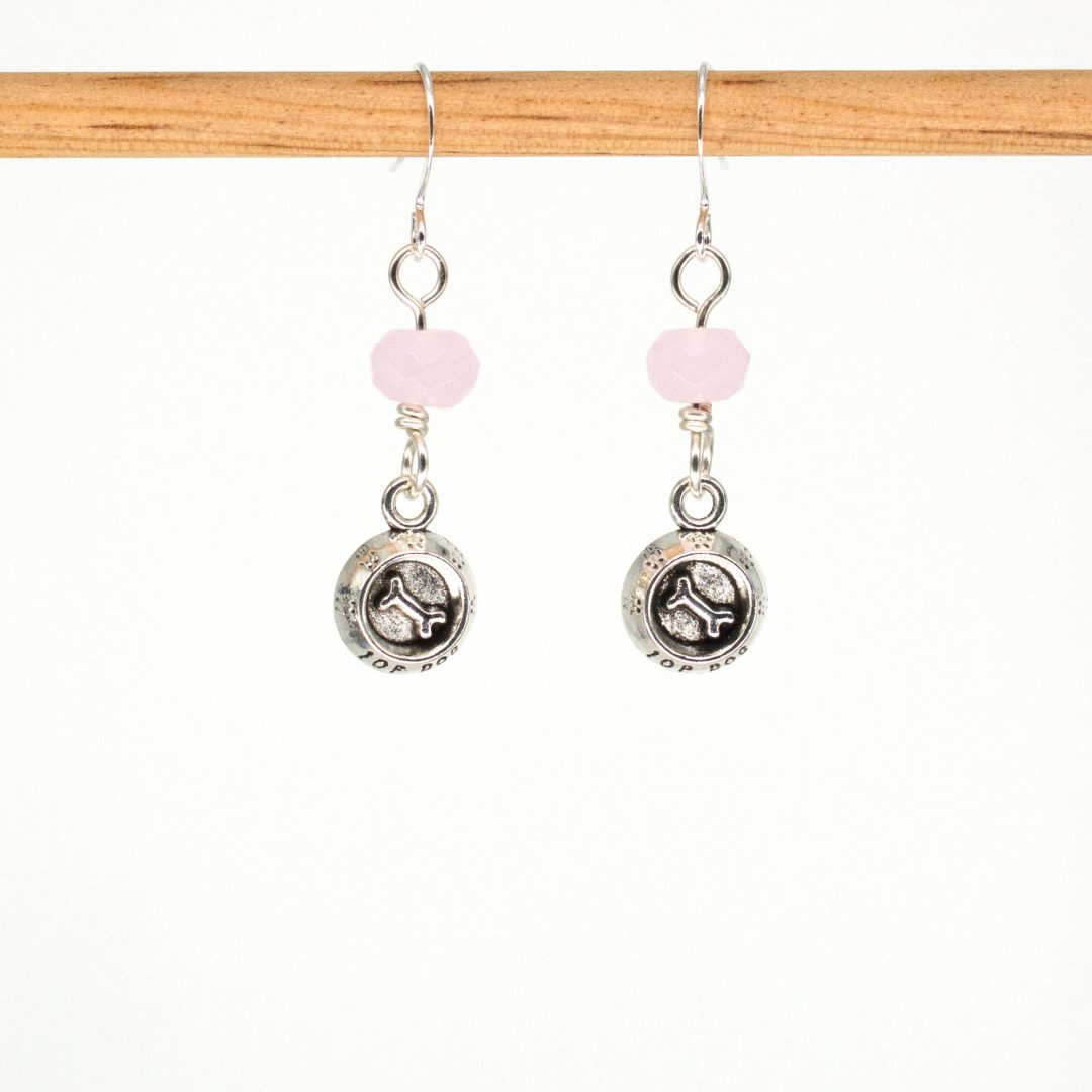 E1063 - Pink Dog Bones Earrings