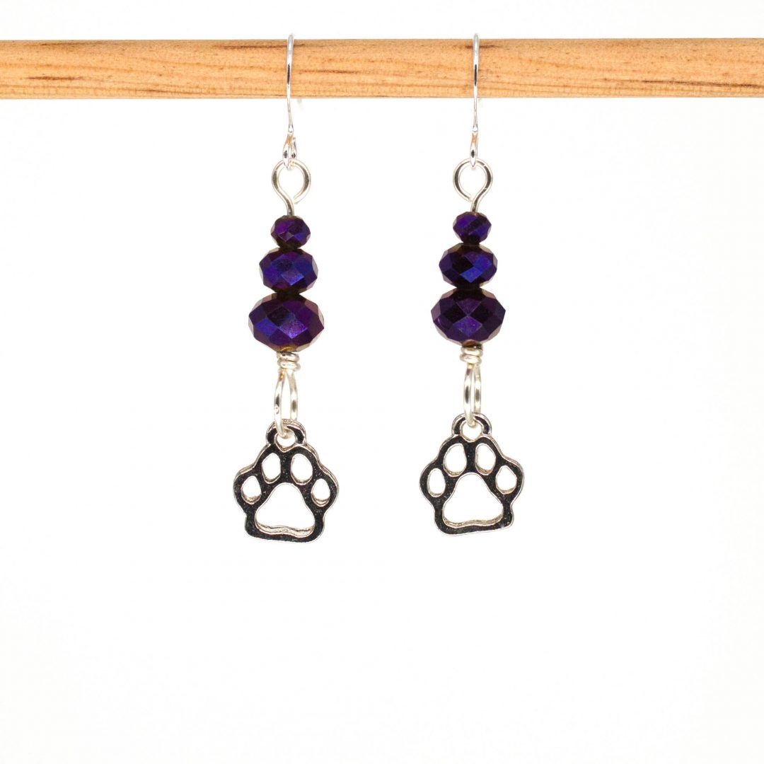 E1073 - Midnite Plum Paws Earrings