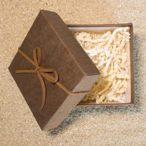 Gift Wrapping - Brown Box with Leather Ribbon 1
