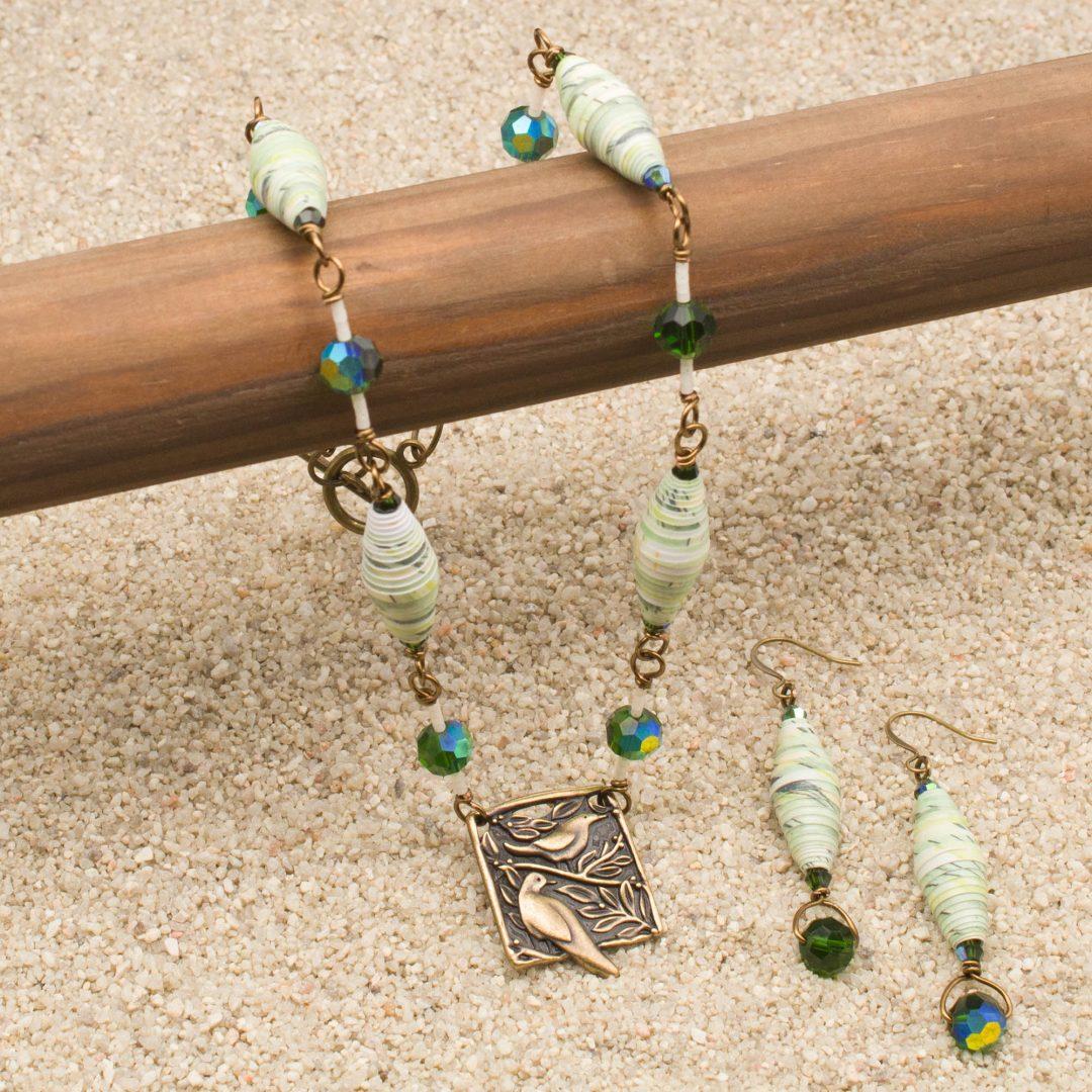 NE809LSb - Verde Aves Necklace and Earrings