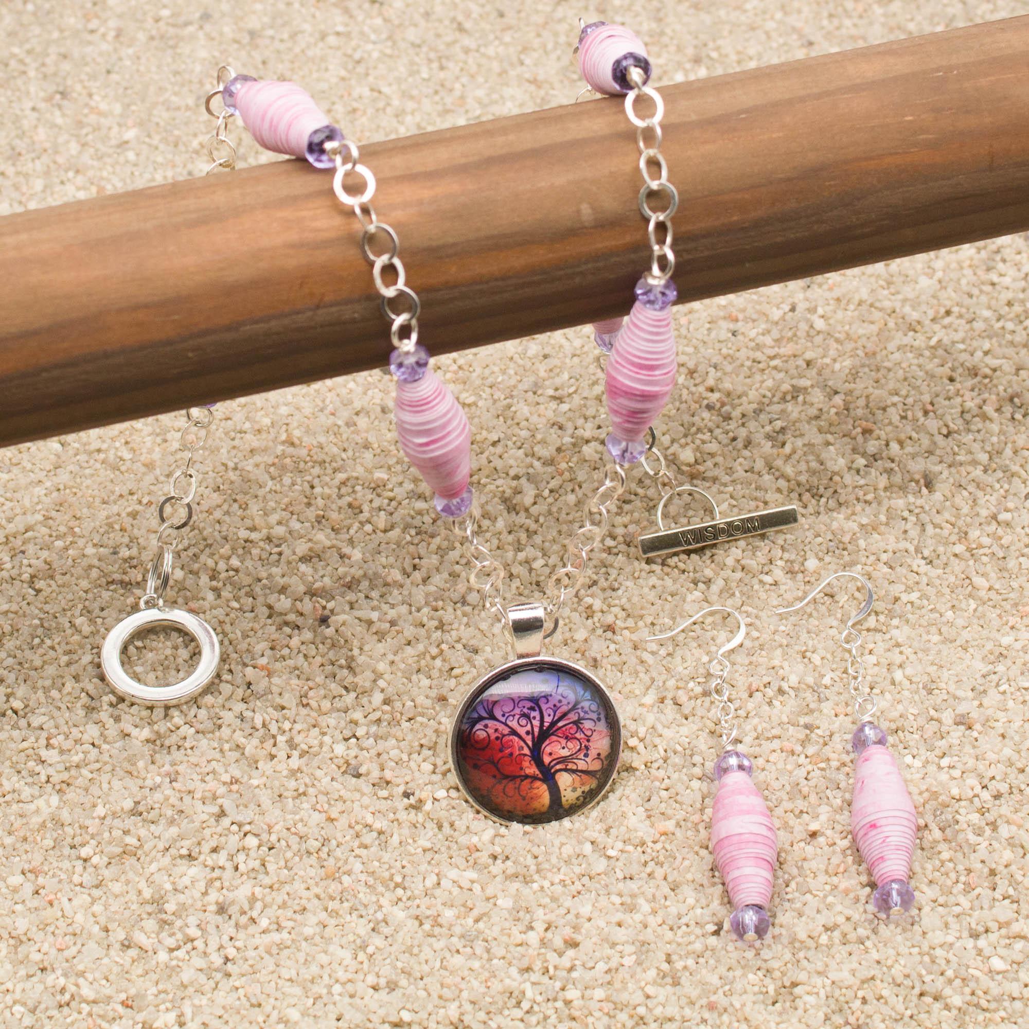 NE811LSb - Windswept Necklace and Earring Set