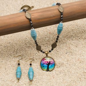 NE812LSb - Mystic Blues Necklace and Earring Set
