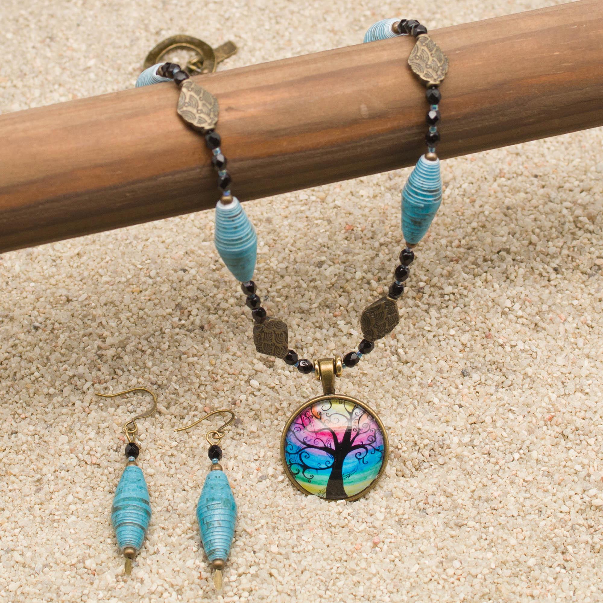 NE812LSb - Mystic Blues Necklace and Earring Set