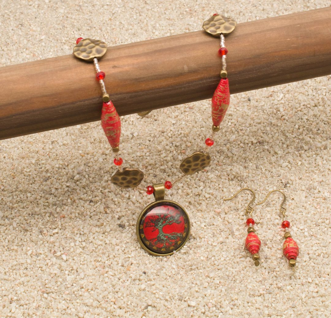 NE813LSb - Geisha Girl Necklace and Earring Set