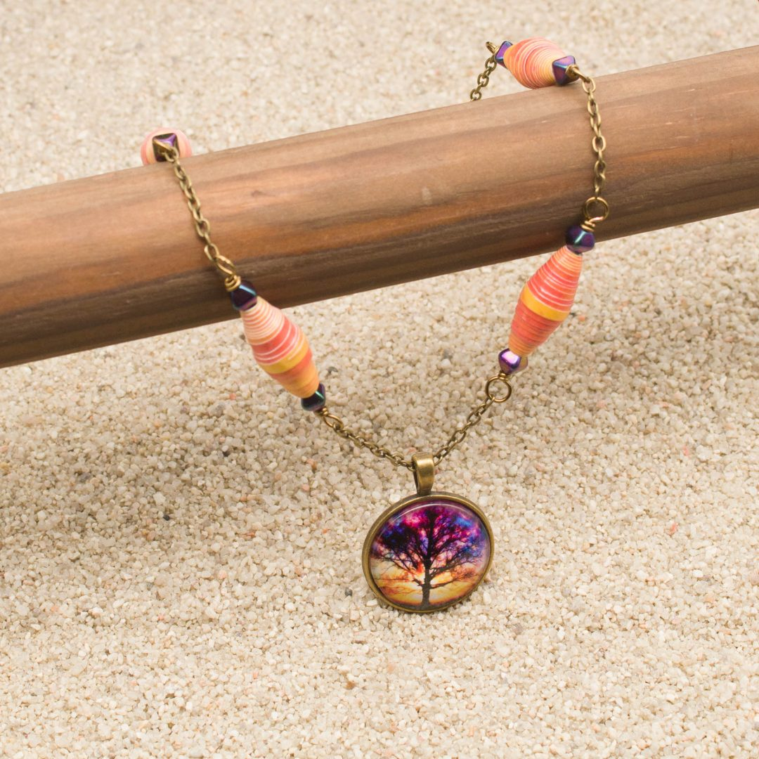 NE814LSa - Sunset Storm Necklace and Earring Set