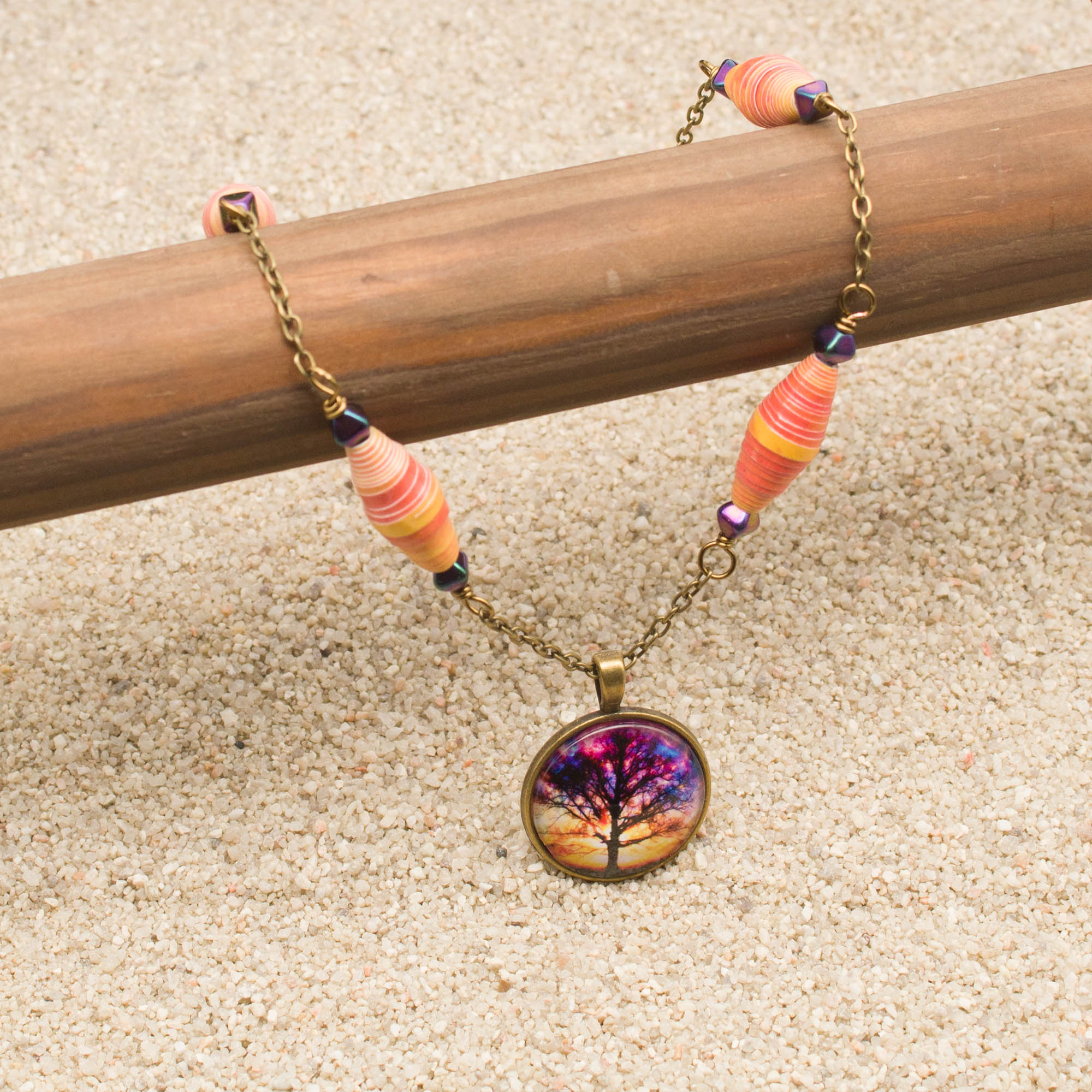 NE814LSa - Sunset Storm Necklace and Earring Set