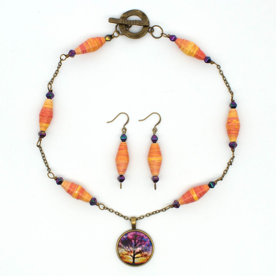 NE814b - Sunset Storm Necklace