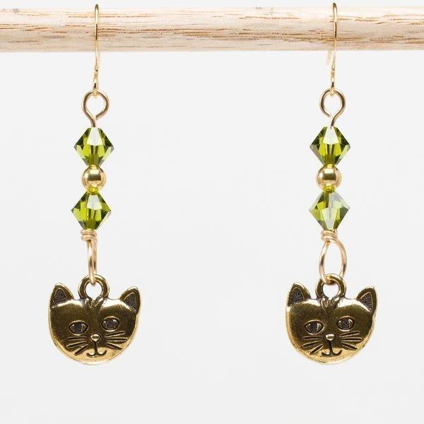 E868 - Peridot Puddy Tat Earrings