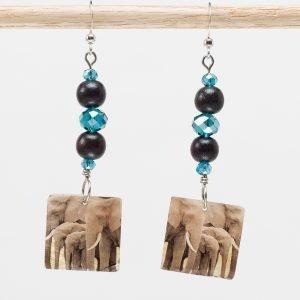 E769 - Wood & Sky Ellie Earrings