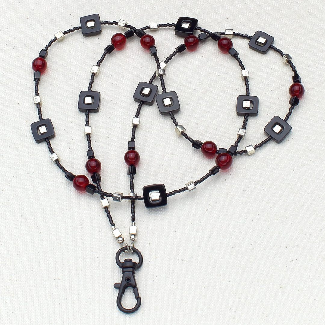 L603 - Blackjack and Silver Lanyard