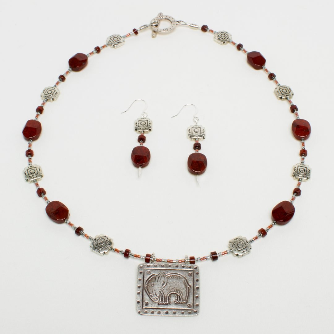 NE806 - Jasper Ellie Necklace and Earring Set