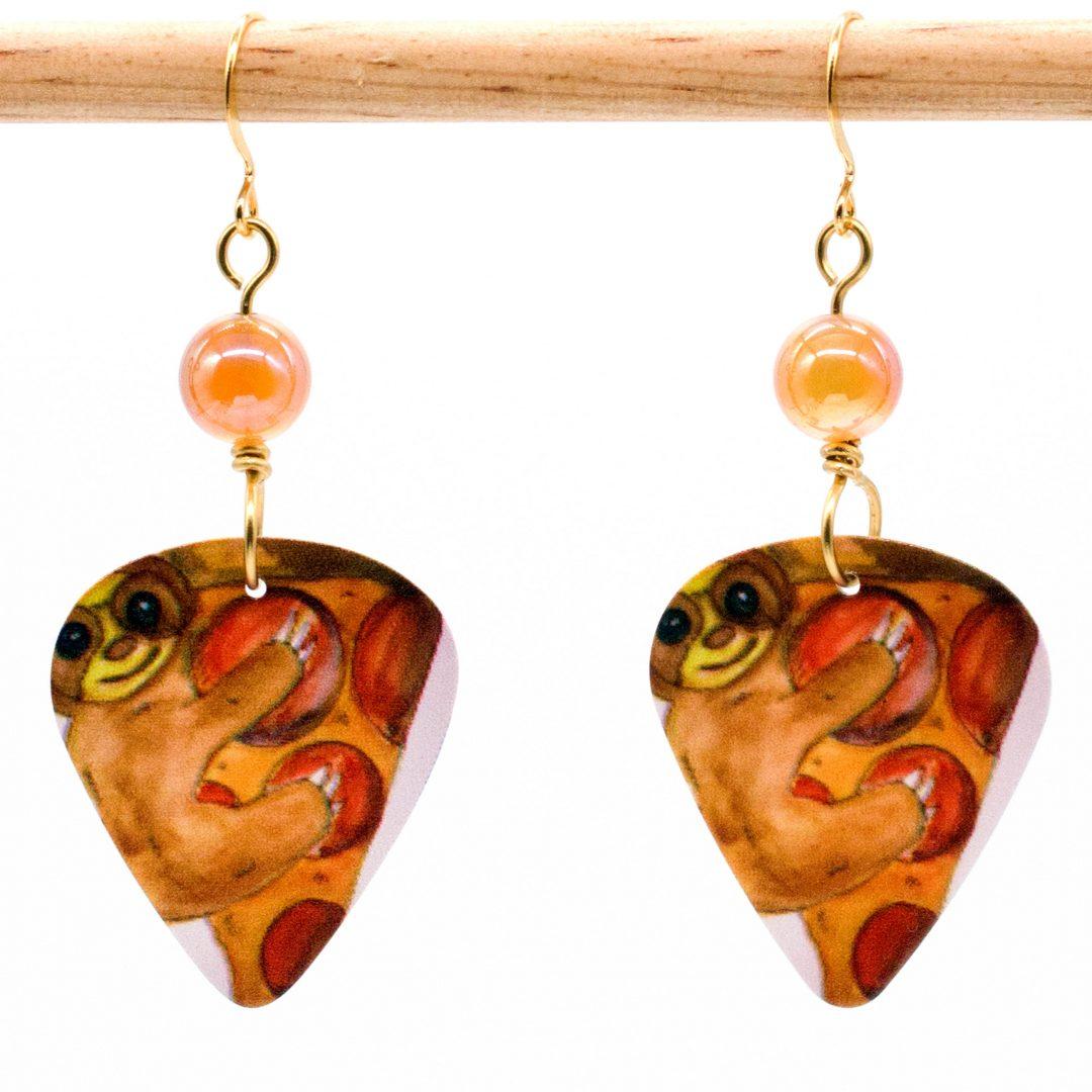 E972 - Pizza Sloth Earrings