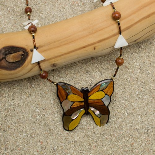 Mahogany Butterfly Necklace